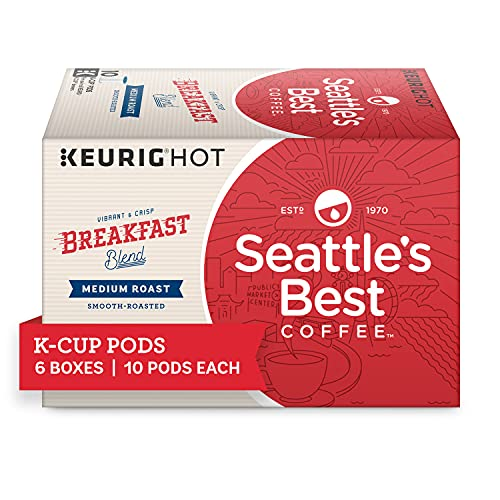 Seattle's Best Coffee Breakfast Blend Medium Roast K-Cup Pods | 6 Boxes of 10 (60 Total Pods)