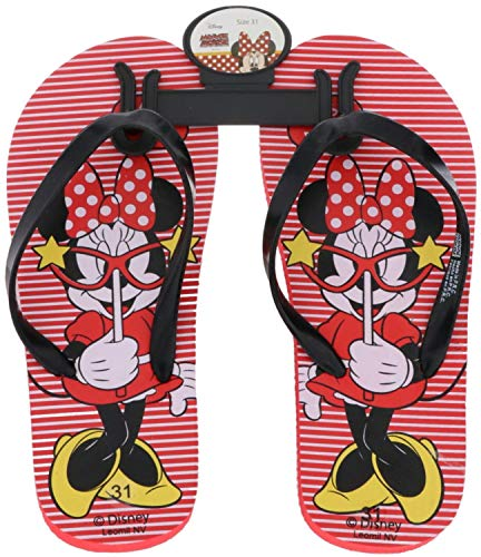 Leomil Kinder Mädchen Zehentrenner Badeschuhe Minnie Mouse rot/schwarz/Mehrfarbig, Farbe:Rot, Größe:24