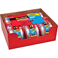 """Scotch Heavy Duty Packaging Tape, 1.88"""" x 22.2 yd, Designed for Packing, Shipping and Mailing, Strong Seal on All Box Types, 1.5"""" Core, Clear, 6 Rolls with Dispenser (142-6)"""
