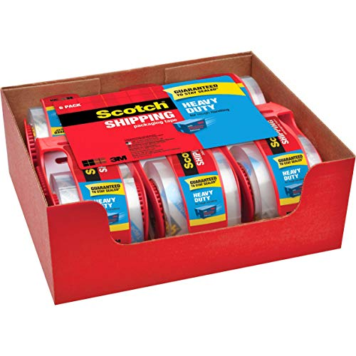 Scotch Heavy Duty Shipping Packaging Tape, 6 Rolls with...