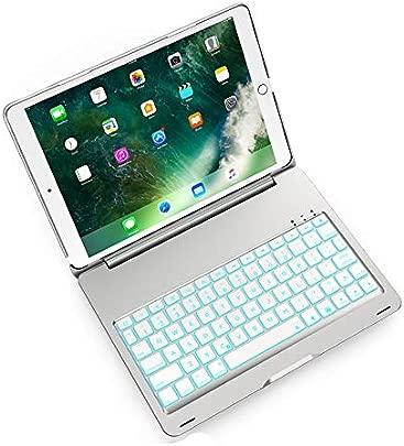 LOMQIT Drahtlose Tastatur H lle f r iPad Air 2019 3  Generation iPad Pro 10 5 quot 2017  A1701 A1709  Aluminium Shell Smart Folio H lle mit Farben Hintergrundbeleuchtung  Auto Sleep Wake Silber