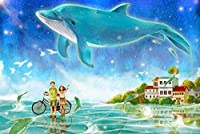 DMFNGJSD 数字油絵 フレームレス 、数字キット塗り絵 手塗り DIY絵-空のクジラ-デジタル油絵 40x50 cm