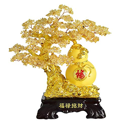 Ornamento de Escritorio Decoración de cristal de estilo de Bonsai-Feng Shui adorna el reloj del cristal natural del árbol del dinero Bonsai for la suerte y la riqueza de Feng Shui suerte Figurita arte