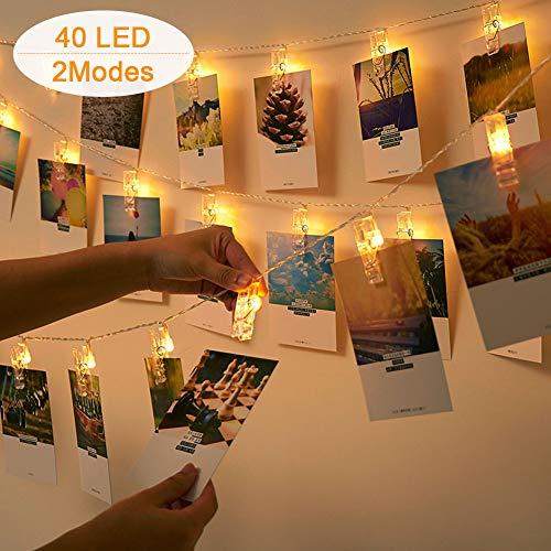 Uping Lichterketten-2 Modi 40 Foto-Clips Lichterkette für den Innenbereich zum Aufhängen von Bildern, Karten und Memos, ideales Geschenk, Foto-Clip Halter für Schlafsaal Schlafzimmer Dekoration