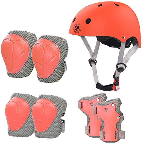 LANOVAGEAR Barn cykelhjälm skyddsutrustning set Ålder 2-8 år knäskydd armbågsskydd handledsskydd och justerbara skateboardhjälmar för skoter cykling rullskridskoåkning pojkar flickor (Orange, S)
