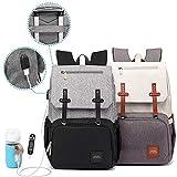 SMILEYBOO Wickeltasche Rucksack – Wasserdichte Unisex Baby Tasche – Multi Taschen Windeltasche mit USB-Anschluss und Wärmespeicher für Babyflaschen mit USB-Kabel – Schwarz und Grau