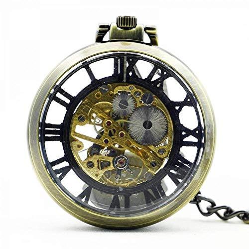 WMYATING Exquisito, hermoso, elegante y único diseño vintage reloj collar steampunk esqueleto mecánico fob reloj de bolsillo reloj colgante cuerda mano hombres mujeres cadena regalo