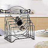 Organisateur de cuisine en métal pour ranger couvercles de casseroles, planches à découper...