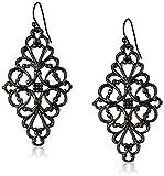 1928 Jewelry Black-Tone Filigree Diamond Drop Earrings...