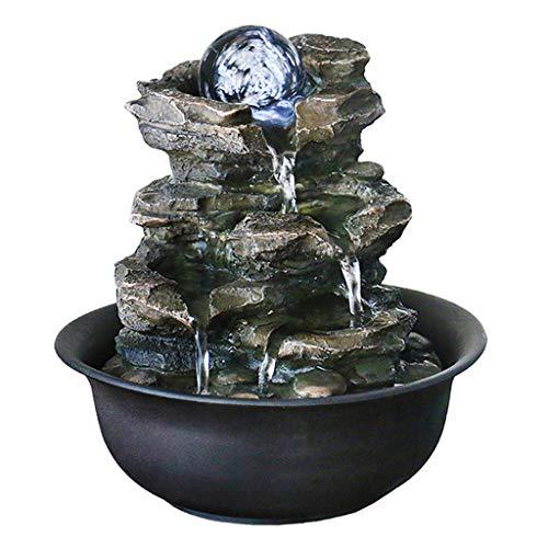 Außen Springbrunnen/Indoor-Bonsai 4-lagiger laminierter Harz-Felsen-Wasserfall-Tischplattenbrunnen Kleine Entspannungswasserfall-LED-Lichter und Inneneinrichtung mit rotierender Kugel Zimmerbrunnen