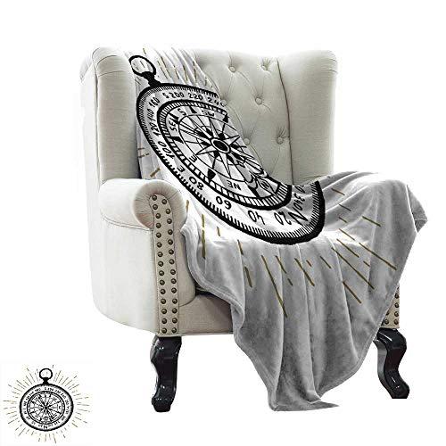 LsWOW - Brújula Estampada para Manta con símbolos monocromáticos, Aventura de Viaje en el mar, Color Blanco y Negro, Material Suave y cómodo, te da un Gran sueño