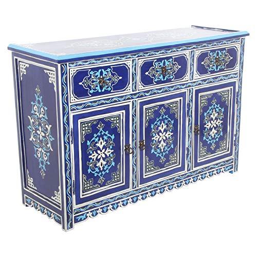 Marokkanische Kommode Azul aus Echtholz 123x42x82 cm (B/T/H) mit 3 Schubladen & 3 Türen | Kunsthandwerk aus Marrakesch | Orientalischer Holzschrank handbemalt Sideboard wie aus 1001 Nacht | MO4073