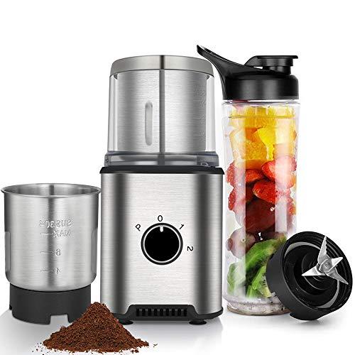 Anpro Kaffeemühle, elektrische Gewürz - Kaffeemühle mit 2 abnehmbare Edelstahlbehälter + Saftschale 600ml, 100g Fassungsvermögen für Kaffeebohnen Nüsse Gewürze Getreide Kräuter Müsli