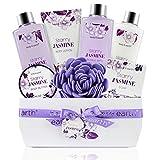 BODY & EARTH Canasta de regalo para mujeres, lujoso set de spa de baño de 8 piezas con aroma a jazmín, que incluye baño de burbujas, gel de ducha, loción y mantequilla de leche