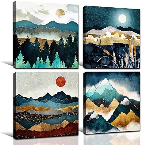 FADALO ART Nordic Style Abstract Canvas Wall Art Mountain Forest Art Prints Moon Night Nature product image