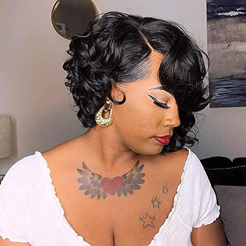 BeiSDWig Short Afro Curly Bob Wig Bob Wigs for Black Women Curly Synthetic Hair Wig Short Curly Bob Hairstyles (9516-z)