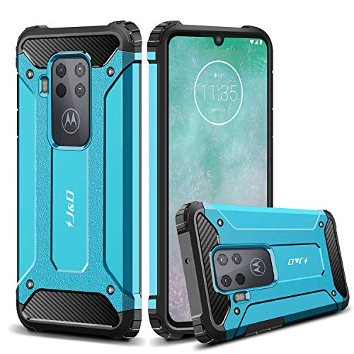 JundD Kompatibel für Motorola One Zoom Hülle, [ArmorBox] [Doppelschicht] [Heavy-Duty-Schutz] Hybrid Stoßfest Schutzhülle für Moto One Zoom Handyhülle - Blau