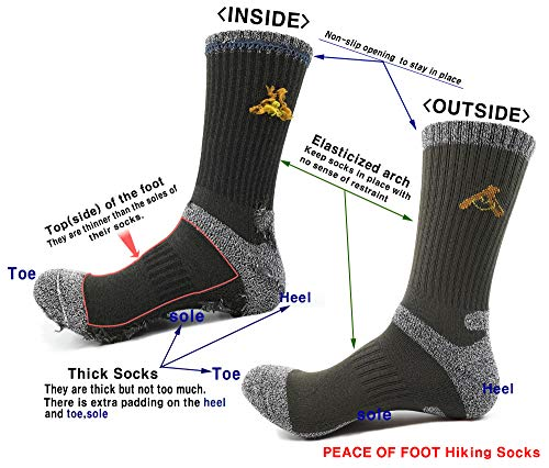 PEACE OF FOOT Hiking Socks boot socks For Mens 6(5+1) Pairs Multi Sports Trekking Climbing Camping working Crew Socks
