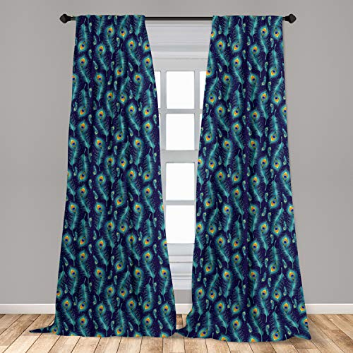 """Ambesonne Peacock Curtains 2 Panel Set, Graphic Peacock Bird Feathers Background Designed Image, Lightweight Window Treatment Living Room Bedroom Decor, 56"""" x 95"""", Navy Blue"""