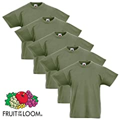 Fruit of the Loom Juego de 5 Camisetas Básicas Niños Niñas Verde Oliva