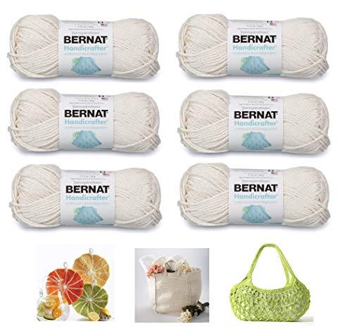 Bernat Handicrafter Cotton Solids Yarn, 1.75 oz, Gauge 4 Medium, 100% Cotton, 6-Pack Off White with 3 Patterns