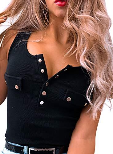 Modasua Damen Tank Top Elegant Strickweste Sommer Strickshirts Strickoberteil Top Ärmellose Shirt Basic Oberteile Shirts mit Knöpfe,schwarz,m