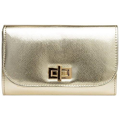 Caspar TA389 elegante Damen Envelope Clutch Tasche Abendtasche mit langer Kette, Farbe:gold,...