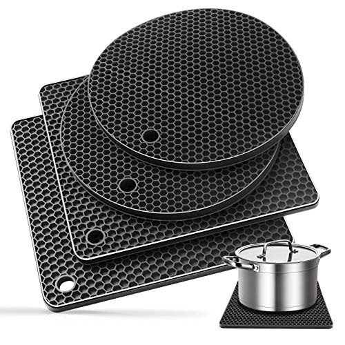 Ardanlingke Silicone Trivet Mats, trivets for hot pots and pans, Extra Thick Hot Pads for Kitchen, Multi-purpose Pot Holder, Non-slip Jar Opener, Gripper Pad, Drying Mat, Coaster (4 Pcs, Dark gray)