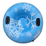 47' Snow Tube Large Snow Sled Inflatable Freeze-Proof & Wear-Resistant Snow Sled, Heavy Duty 0.6mm Thickening Material Snow Tube with 2 High Handles for Adults/Kids (F 47')