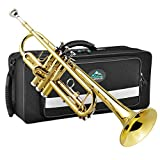 EastRock Gold Trumpet Bb Brass Standard Trumpet with Hard Case, Gloves,Cloth,Valve Oil, 7C Mouthpiece, Musical Instruments for Student Beginner or Experienced Kids, Adults