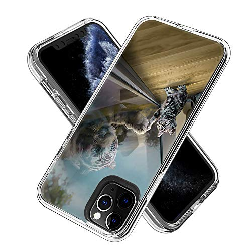 Funda para iPhone 11 Pro MAX (6.5inch),Transparente [Anti-Choque] [Anti-arañazos] Funda con Tarjeta de Dibujos Animados (Gato Espejo)
