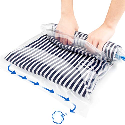 Suob 12 Pack Travel Storage Bags, No Vacuum or Pump Needed Travel Compression Bags Roll Up Storage Bags for Clothes, Luggage