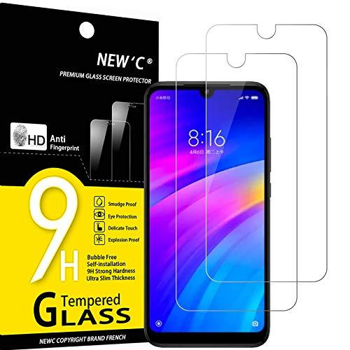 NEW'C Lot de 2, Verre Trempé Compatible avec Xiaomi Redmi 7, Redmi Y3, Film Protection écran sans Bulles d'air Ultra Résistant (0,33mm HD Ultra Transparent) Dureté 9H Glass