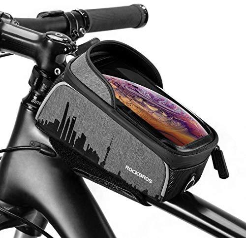 ROCKBROS(ロックブロス)トップチューブバッグ 自転車バッグ フレームバッグ スマホホルダー 大容量 軽量 6.5インチスマホ対応 クロスバイク/マウンテンバイク