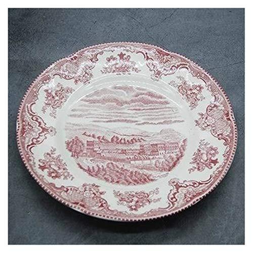 YINGYINGSM Plato de Cena Rosa vajilla Estilo Europeo Cena Ware Desayuno Placa de cerámica Platos de Carne Plato Postre Soup Bowl Cocina (Color : 8 Inch Plate)