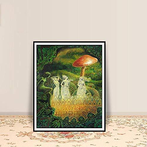 Kamer decoratie schilderij print psychedelische heidense zigeuner Boheemse Ierse fee mythologie godin kunst aan de muur posters en prints / 50x70cm geen frame