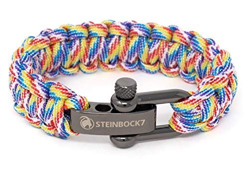 Steinbock7 Gay Pride LGBT Pulsera de supervivencia Rainbow Paracord con cierre de acero inoxidable ajustable, arco iris, incluye instrucciones para trenzar