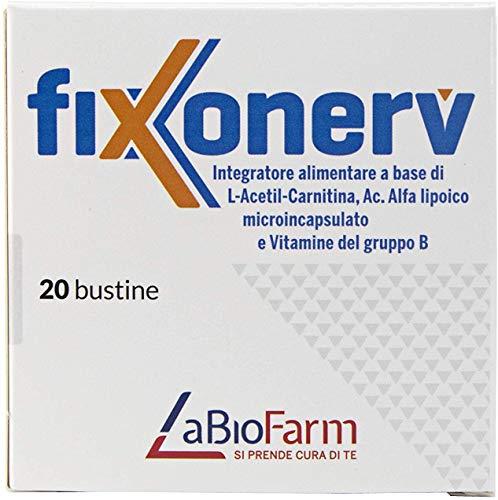 LABIOFARM Fixonerv - integratore alimentare   L-acetil-Carnitina   Acido Alfa lipoico micro incapsulato   vitamine del gruppo B   20 bustine
