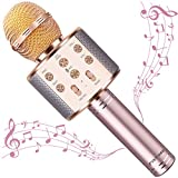Microphone for Kids Karaoke Microphone Kids Girl Gifts for Age 4 5 6 7 8 9 Year Old Handheld Wireless Bluetooth Microphone Home Party Favor Mic Microphones Kids Christmas Birthday Gifts (Rose Gold)
