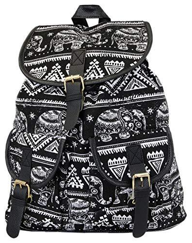Leoodo Damen Rucksack ethno Elefanten Muster, Daypacks für Reise, Damen Tasche:Schwarz