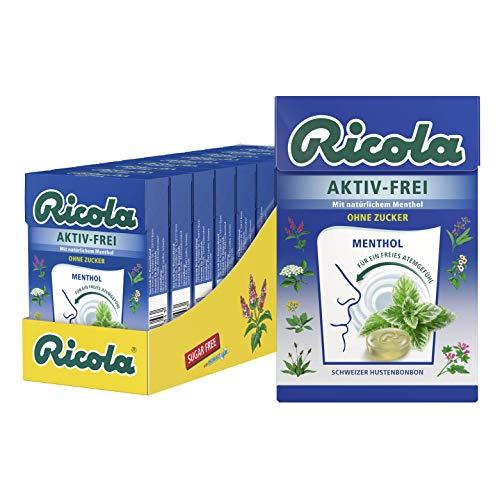 Ricola AKTIV-FREI Menthol, Schweizer Hustenbonbon, 10 x 50g Böxli, ohne Zucker, für ein freies Atemgefühl