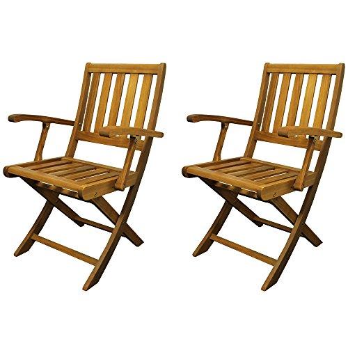 colourliving Klappstuhl 2er Set Holz Gartenstuhl Balkonstuhl mit Armlehne Akazienholz Holzstühle Gartenstühle Klappstühle