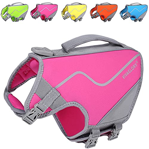 Vivaglory Small Dog Life Vest, New Neoprene Sports Style Life Jacket for Dogs with Strong Grab...