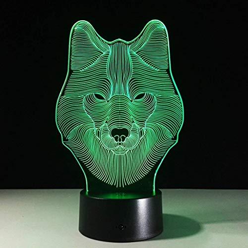 OGUAN Lámpara de mesa de lectura, Noche 3D Light Touch Control lámparas de escritorio 7 cambio de color de las luces de mesa con acrílico plana, base de ABS y cargador USB Iluminación en la alcoba pri