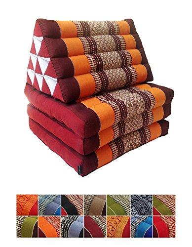 Collumino, materasso da meditazione tradizionale thailandese Kapok a 3 strati, con cuscino reclinabile triangolare in stile orientale, per yoga, massaggi o relax Arancione, marrone.