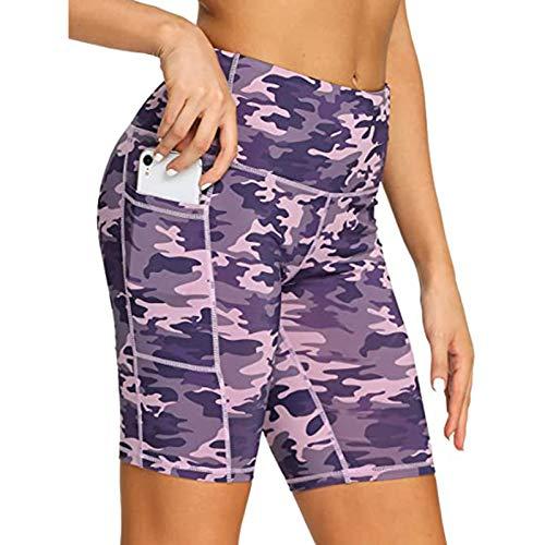 AFFGEQA Damen Yoga Hosen Shorts Legging Fitness Jogging Hohe Taille Hüftlift Druck Einfarbig Leopardenmuster Mehrere Farbe Und Länge Tarnung Mit Und Ohne Taschen Kurze Hosen
