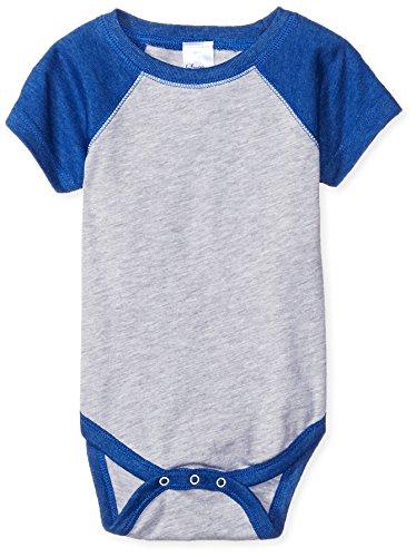 Clementine Baby Infant Baseball Fine Jersey Bodysuit Onesie, VN Heather/VN Royal, 18 Months