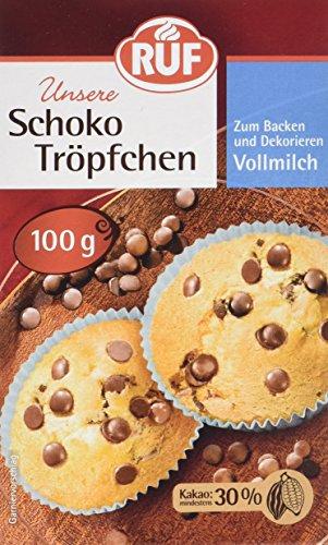 RUF Schoko Tröpfchen Vollmilch zum Backen und Dekorieren, 1 x 100 g
