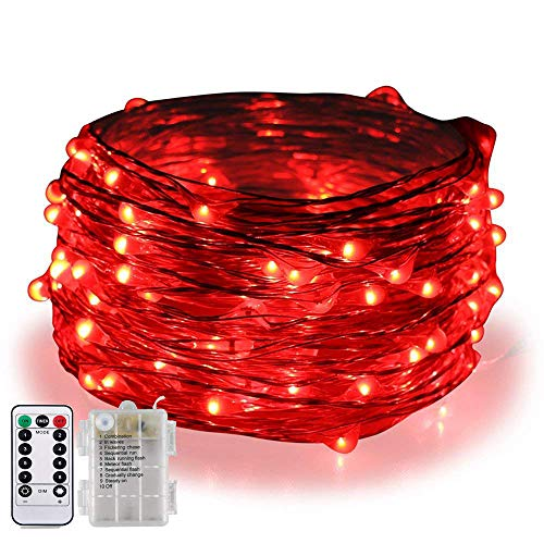 BOLWEO 5M/16.4Ft 50LEDs Battery Operated LED String Lights,Remote/Dimmable/Timer,Waterproof Copper Wire Fairy Lights for Indoor Outdoor Party Wedding,Red