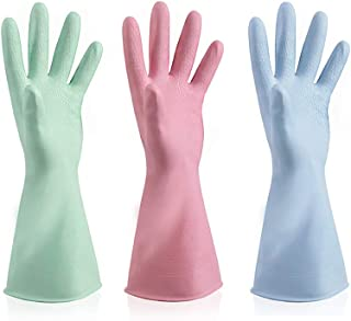 Cleaning Gloves 3 Pack Kitchen Dishwashing Gloves, Latex Free Pink Green Blue, S